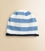 Sure to become a keepsake, this adorable hat combines both style and practicality in one great gift. Crafted in a combination of wide stripes with a rolled edge and the softness of pure cotton. CottonMachine washMade in USAFOR PERSONALIZATION Select a quantity, then scroll down and click on PERSONALIZE & ADD TO BAG to choose and preview your personalization options. Please allow 4-6 weeks for delivery.
