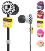 With colorful, interchangeable faces, these earbuds from Harajuku Lovers let you take Love, Angel, Music, Baby wherever you go.