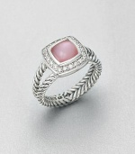 From the Petite Albion Collection. A pretty style with a pink mother-of-pearl cabochon surrounded by dazzling diamonds on a split cable shank. Pink mother-of-pearlDiamonds, .18 tcwSterling silverImported