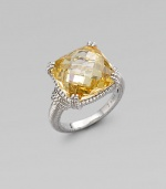From the Giftables Collection. A sparkling canary crystal stone in a four-prong sterling silver setting.Canary crystal Sterling silver Width, about ½ Imported Additional Information Women's Ring Size Guide