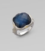 From the Contempo Collection. Blue quartz and hematite doublet stone dazzles in a sterling silver setting with 18K gold accents.Blue quartz Hematite 18K gold Sterling silver Width, about ½ Length, about ¾ Imported Additional Information Women's Ring Size Guide