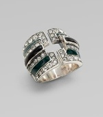 A striking geometric design, offering bands of green and black enamel edged with shimmering Swarovski crystals, set in sterling silver.CrystalEnamelSterling silverWidth, about ¾Made in Italy