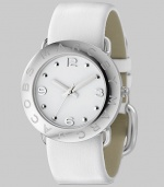 A subtly logo engraved bezel with sleek white dial and leather strap.Quartz movement Water resistant to 3 ATM Logo engraved bezel Round stainless steel case, 36mm, (1.41) White dial Arabic numeral and dot hour markers Second hand Leather strap, 22mm, (.86) Buckle closure Imported