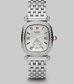 From the Caber Isle Diamond Collection. A classic style with dazzling diamonds and a lustrous mother-of-pearl dial. Quartz movement Water-resistant to 5ATM Rectangular stainless steel case, 32mm (1.25) Diamond pavé bezel and accents, .58 tcw Mother-of-pearl dial Roman numeral and index hour markers Second sub dial Stainless steel link bracelet Imported