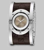 From the Twirl Collection. A modern design featuring a sun-brushed color dial and a stainless steel cuff with brown leather Guccissima inset. Swiss quartz movementWater resistant case to 3 ATMRound stainless steel case, 23mm (0.9)Riveted bezelBrown sun-brushed color dialStainless steel cuff with brown Guccissima leather insetMade in Switzerland