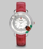 This limited edition timepiece boasts a diamond bezel with mother-of-pearl details on a luxurious alligator strap. Swiss quartz movementWater resistant to 5 ATMRound stainless steel case, 38mm (1.5)Diamond accented mother-of-pearl bezel, .52 tcwMother-of-pearl dialDot hour markersSecond hand Red alligator strap, 16mm wide (0.6)Imported