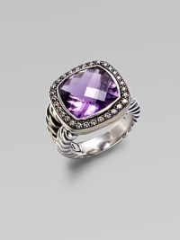 From the Moonlight Ice Collection. A beautiful amethyst stone surrounded by pavé diamonds. Amethyst Diamonds, 0.45 tcw Blackened sterling silver Size, about ½L X ½ W Imported