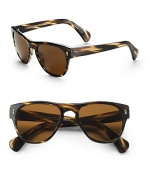 Plastic wayfarer inspired frames. Available in cocobolo with java polarized lens. 100% UV protection Imported