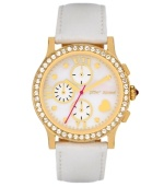 Never miss an opportunity to shine. Betsey Johnson doesn't on this watch crafted of a white leather strap and round gold tone stainless steel case. Bezel embellished with crystal accents. White mother-of-pearl chronograph dial features gold tone dot markers, Roman numerals, three subdials, heart at four o'clock, gold tone hour and minute hands, signature fuchsia second hand and logo. Quartz movement. Water resistant to 30 meters. Two-year limited warranty.
