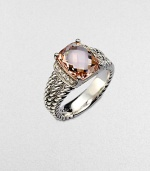 From the Petite Wheaton Collection. A pretty, faceted morganite stone flanked by dazzling diamonds set in a triple cabled, sterling silver shank. MorganiteDiamonds, .1 tcwSterling silverWidth, about .39Imported