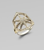 A lovely open star design, shimmering with diamonds, sits within a bead-edged scalloped border of sterling silver atop a smooth band with 14k gold accents.Diamonds, .13 tcwSterling silver and 14k yellow goldDiameter, about ¾Made in USA
