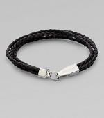A braided strand of fine Italian leather is offset by a gleaming sterling silver clasp.LeatherSterling silverAbout 8 long Made in the United Kingdom
