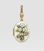Pearl-look CRYSTALLIZED - Swarovski Elements sparkle on this handcrafted, hand-enameled birthstone locket that opens to hold a favorite photo. Crystal Enamel 18k goldplated brass & brass-plated pewter Month indicated on the back Length, about 1¼ Width, about 1 Spring clip clasp Made in USA