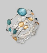 From the Wonderland Collection. Five faceted doublet stones, in the rich warm color of golden honey, combine color-backed mother-of-pearl and faceted clear quartz, set on a bangle of hammered sterling silver.Mother-of-pearl and clear quartzSterling silverDiameter, about 2½ImportedPlease note: Bracelets sold separately.