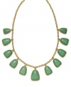 Sprigs of green for spring! This refreshing, reconstituted jade necklace from Lauren by Ralph Lauren is set in 14k gold-plated mixed metal. Approximate length: 16 inches. Approximate drop: 3/4 inch to 1 inch.