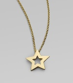 From the Tiny Treasure Collection. A bright, shiny star of 18k yellow gold with open star center matches your own unique, star power. 18k yellow gold Chain length adjusts from about 16 to 18 Pendant length, about ½ Lobster clasp Made in Italy