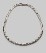 A gracious ribbon of woven sterling silver in a substantial oval shape is both classic and modern. Sterling silver Length, about 18 Hidden barrel push-lock clasp Made in Bali Please note: Chain sold separately.