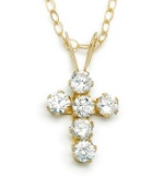 Let your little girl play dress up. Round-cut cubic zirconias add sparkle to this 14k gold cross pendant. Chain measures 15 inches.