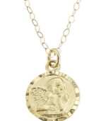 Intricate, raised details lend this charming guardian angel pendant a touch of whimsy. Crafted of 14k gold. Chain measures 15.