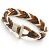 Trendy Mens Woven Leather Bracelet Cuff (Brown White Black)