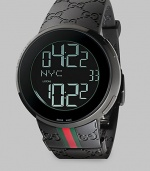 From the I-Gucci Collection. For jet setters and net surfers, a smart, sporty timepiece that lets you track two time zones at once, displaying them with digital grace. Swiss digital movement 44mm black PVD case Black embossed logo strap with signature color band Black dial with digital display, including date Water-resistant to 3ATM Imported
