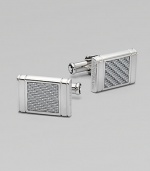 Silver Square Cuff Links Sterling silver with silver-colored glass fiber inlay.Sterling silver¾ x ½Imported