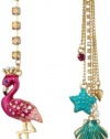 Betsey Johnson Jewels of the Sea Flamingo and Sea Shell Mismatch Drop Earrings