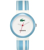 Flash those baby blues with this men's and women's creation from Lacoste. Goa watch crafted of blue and white stripe silicone strap and round plastic case. White dial features iconic crocodile logo at twelve o'clock, printed text logo at six o'clock and three hands. Quartz movement. Water resistant to 30 meters. Two-year limited warranty.