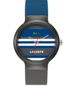 Cultivate your Ivy League look with Lacoste. Unisex Goa watch crafted of gray and navy silicone strap and round gray plastic case. Multi-color stripe dial features iconic crocodile logo at twelve o'clock, white text logo at six o'clock, white cut-out hour and minute hand and red second hand. Quartz movement. Water resistant to 30 meters. Two-year limited warranty.
