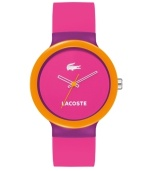 Get hypnotized by the bright neon lights of Lacoste. Unisex Goa watch crafted of pink with purple detail silicone strap and round purple plastic case with orange bezel. Pink dial features white iconic crocodile logo at twelve o'clock, white text logo at six o'clock, white cut-out hour and minute hand and orange second hand. Quartz movement. Water resistant to 30 meters. Two-year limited warranty.