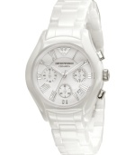 Pure style by Emporio Armani. This fresh watch features a white ceramic strap and round case. White chronograph dial with silvertone Roman numerals, logo, date window and three subdials. Analog movement. Water resistant to 30 meters. Two-year limited warranty.