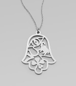 A charming, sterling silver pendant of lucky symbols with diamond accents on a link chain. Sterling silverDiamonds, 0.6 tcwLength, about 30Pendant size, about 2Lobster clasp closureMade in USA