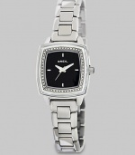 From the Orchestra Collection. Sparkle in this elegant, Swarovski crystal accented timepiece. Quartz movementWater resistant to 5 ATMRectangular stainless steel case, 29mm (1.2) X 29mm (1.2) Swarovski crystal accented bezelBlack dialFour bar markersSecond handStainless steel link braceletImported