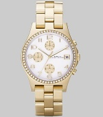 A classic chronograph dial with goldplated stainless steel bracelet and crystal bezel.Quartz movement Water resistant to 3 ATM Crystal bezel White chronograph dial Arabic numeral hour markers Date display at 3 o'clock Second hand Goldplated stainless steel link bracelet, 18mm, (.71) Imported