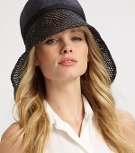 A statement style with a glamourous, asymmetrical crocheted brim. StrawClean with damp clothBrim, about 6½Made in Italy