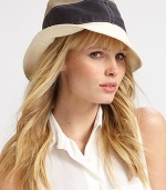 A colorblocked design with stitched accents, perfect for travel or everyday. LinenBrim, about 2½Dry cleanMade in Italy