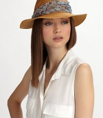 A beaded, sequined band elevates this chic, casual style.Ruched, sequined bandBrim, about 2½90% hemp/10% cottonHand washMade in USA of imported fabric