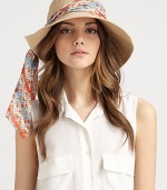 A floppy and fabulous warm-weather ready topper in soft, crisp canvas with a convertible brim and a colorful, removable scarf.CanvasBrim, about 4Imported