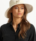 Chic sun protection in a packable squishee style with banded grosgrain ribbon trim and medium sized brim. Brim, about 4Rayon/polypropylene/polyesterSpot cleanImported