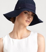 Cotton cloche, with wide stitched brim and pleated trim, retains its shape after packing.CottonLogo button detailPleated bandBrim, about 4Spot cleanMade in Italy