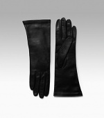 EXCLUSIVELY AT SAKS. Smooth, supple leather with warm cashmere lining. About 11 long Made in Italy