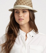 An iconic style with a GG pattern canvas and leather trim in a structured design. CottonBrim, about 1¾Made in Italy