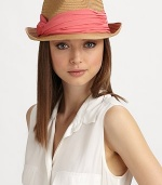 Casual and chic, in lightweight straw adorned with a colorful, pleated chiffon band.Pleated chiffon bandBrim, about 2Paper braidSpot cleanImported