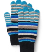 Soft, striped gloves add a touch of color to your wintry ensemble.