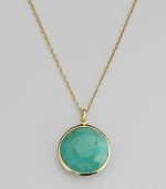 From the Lollipop Collection. An exquisite, faceted turquoise in a setting of 18k yellow gold on a graceful gold chain. Turquoise 18k yellow gold Length adjusts from about 16 to 18 Pendant diameter, about ¾ Spring ring clasp Imported