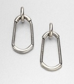 A modern style with a sleek snake chain drop design. Silver oxide-finished brassDrop, about 2Post backImported