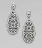 EXCLUSIVELY AT SAKS. A single drop of delicate lacework with crystal detailing.Crystal Rhodium plated Length, about 2 Width, about ¾ Post backs Imported