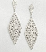 A geometric, yet feminine design accented in pavé crystals. CrystalsRhodium-plated brassDrop, about 2.75Post backImported