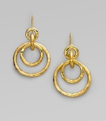 Circles within circles, linked by more circles, create a look that's sleek and modern. 18k yellow gold Drop, about 2 Ear wire Imported