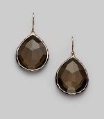 A gorgeous teardrop shape of faceted smoky quartz is set in sterling silver and 18k gold with a fine finish of 18k rose goldplating. Smoky quartz An alloy of 18K gold and sterling silver plated with 18K rose gold Drop, about 1½ Width, about ¾ Ear wire Imported